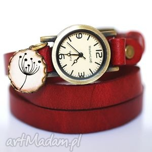 Zegarek Dmuchawiec II skóra, dmuchawiec, zegarek, czerwień, bordo, medalik