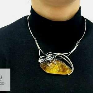 naszyjniki naszyjnik kolia ze srebra próba 925 z bursztynem bałtyckim rękodzieło
