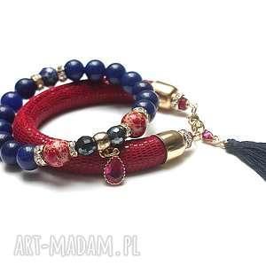 strap - red and navy blue vol 3 /19 12 17/duo, jadeity, jaspisy, skóra, rzemień