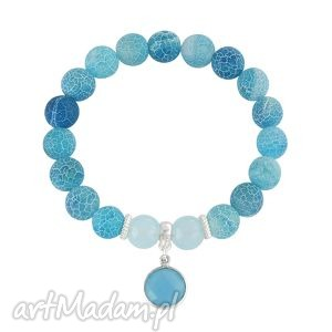 agate with jade pendant - niebieskie bransoletki