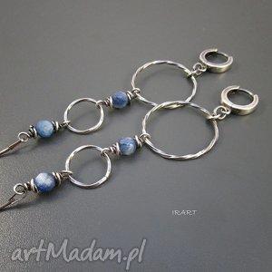 kolczyki koła z kyanitem, kyanit, srebro, oksydowane, biżuteria, pod choinkę