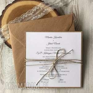 handmade zaproszenie na ślub - jednostronne