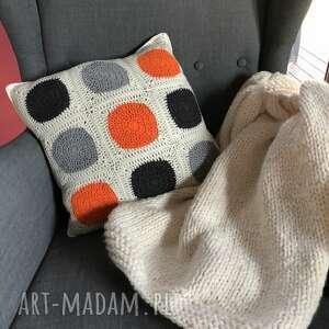 poduszki poszewka na poduszkę 50x50 cm pomarańczowe kropki, poduszka