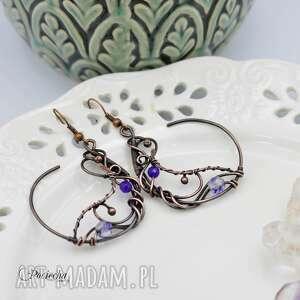 Bohemian violet - kolczyki z jadeitem i kwarcem pracownia miedzi