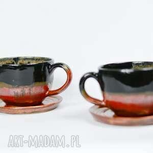filiżanki klasyczne 2 szt do kawy herbaty czarno miedziane 350 ml