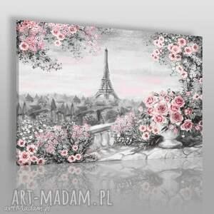 obrazy obraz na płótnie - pejzaż paryż róże 120x80 cm 55901, paryż, wieża, eiffla