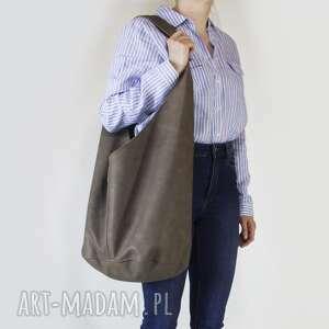 ręcznie zrobione na ramię short boogi bag - torba w stylu boho ramię, grafitowa