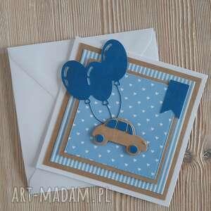 kartki kartka urodzinowa dla chłopca, auto, samochód, chłopiec, balony