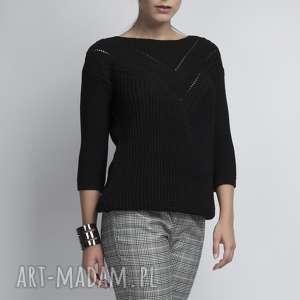 swetry sweterek z ażurową wstawką, swe041 czarny mkm, dzianinowy, ażurowy, łódka