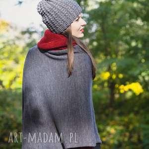 Czapka handmade, wełna, robiona-na-drutach, szary, ciepła