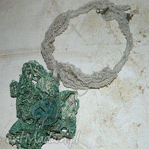 hand-made naszyjniki zielony lniany naszyjnik