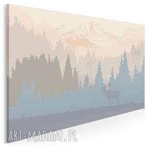 obrazy obraz na płótnie - jeleń góry pejzaż - 120x80 cm (24001)