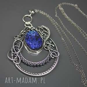 Srebrny wisior retro Błękitny wiatr , agat-tytanowy, surowy, srebro, spinel, długi,