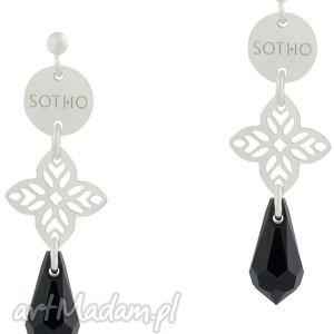 długie orientalne kolczyki z czarnymi kryształami swarovski®