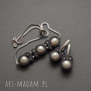 komplet biżuterii sutasz z perłami, sznurek, elegancki, wyjściowy, perłowy