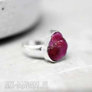 925 srebrny pierścionek z rubinem madamlili - czerwień, srebro