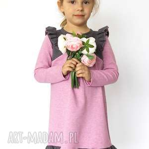 sukienka pink gray, sukienka, romantyczna, falbanki, wiosna, dziecko