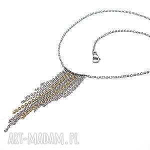 Alloys Collection - /frędzle /- naszyjnik, stal, szlachetna, pozłacane, łańcuszki