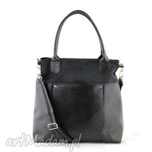 na ramię fiella - duża torba czarna, shopper, wygodna, praktyczna, elegancka