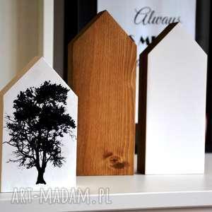 3 x domki drewniane, domki, drewna, drzewo, dąb, domek