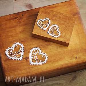 Zestaw pudełek - na obrączki i koperty ślub biala konwalia