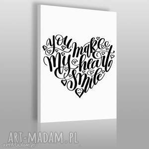 magnesy napis na płótnie - you make my heart smile 50x70 cm 56859, napis, design