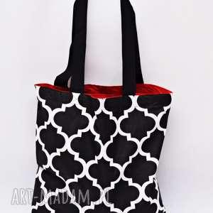 hand made torba na zakupy ekologiczna shopperka maroko czarne szoperka zakupowa