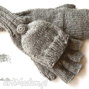 Bezpalczatki z klapką #12, rękawiczki, klapka, mitenki, dziergane, jednopalczaste