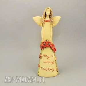 ceramika anioł z dedykacją, anioł, maki, ceramika, dedykacja