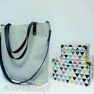 Shopper bag, szara, torba, modna, klasyczna, wygodna, szyta