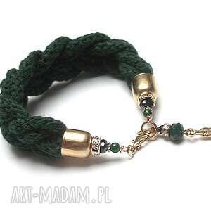 /hygge/ sea green - bransoletka, warkocz, bawełna, kika, hygge
