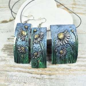 letnia łąka - rumianek komplet biżuterii, biżuteria kwiaty, w kwiatki