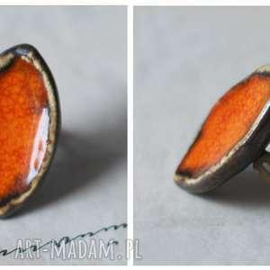 Pierścionek oranżowa łódeczka, pierścionek, ceramika