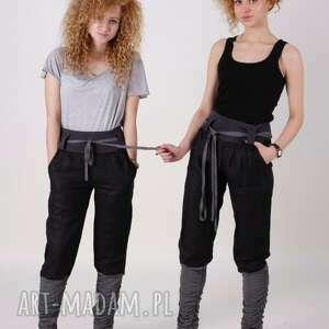 spodnie alladyny, czarne ze ściągaczem, kieszeniami, luźny krój, yoga