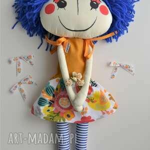 ręcznie szyta lalka anolinka z niebieskimi włosami - lalka ręcznie szyta