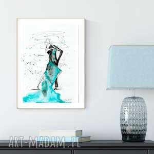 grafika 30x40 cm wykonana ręcznie, turkusowy, abstrakcja-taniec, obraz-tango