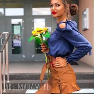 handmade bluzki granatowa bluzka damska wiązana na kokardę
