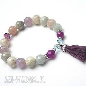 boho - purple and mulicolor bransoletka, akwamaryny, ametysty, srebro, chwost