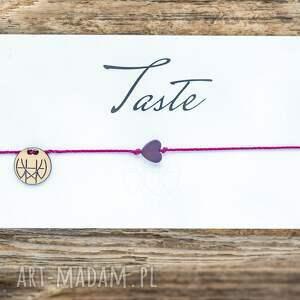whw taste purple heart on fuchsia string, delikatna, sznurkowa, sznureczkowa, serce