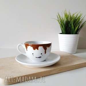 kubki filiżanka zalana kawą - 150 ml spodek, filiżanka, kolorowa, śmieszna