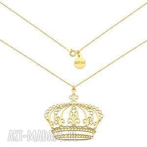 złoty naszyjnik z dużą koroną, naszyjnik, łańcuszek, korona, modowy, żółte