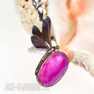 Prezent Ważka z różowym agatem naszyjnik srebrny a568, naszyjnik-srebrny
