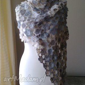 duży artystyczny szal - szal, pastele, styl, sztuka, dodatek, handmade