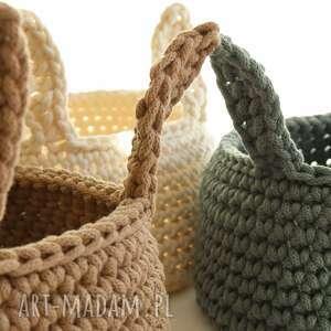 handmade pokoik dziecka szydełkowy koszyk z zajęczymi uszami