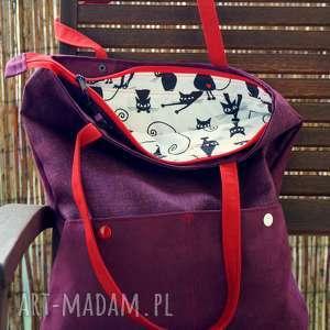 na ramię fioletowa torba z kieszenią, torba, hobo, kotki, pojemna, modna, miejska