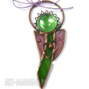 witraże kartka na życzenia z zielono-fioletowym aniołkiem, ozdoba, życzenia, aniałok