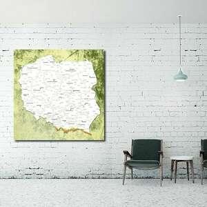tablica korkowa mapa polski nr 7 obraz 100x100cm gratis pinezki prezent