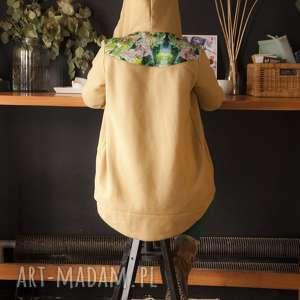 Bluza dresowa z kapturem jungle - musztardowa bluzy mimi monster