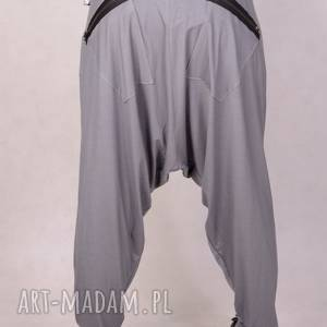 ręcznie wykonane spodnie szare spodnie z zamkami alladynki plus size