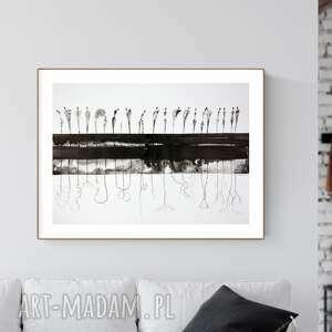 grafika 70x50 cm wykonana ręcznie, abstrakcja, elegancki minimalizm, obraz
